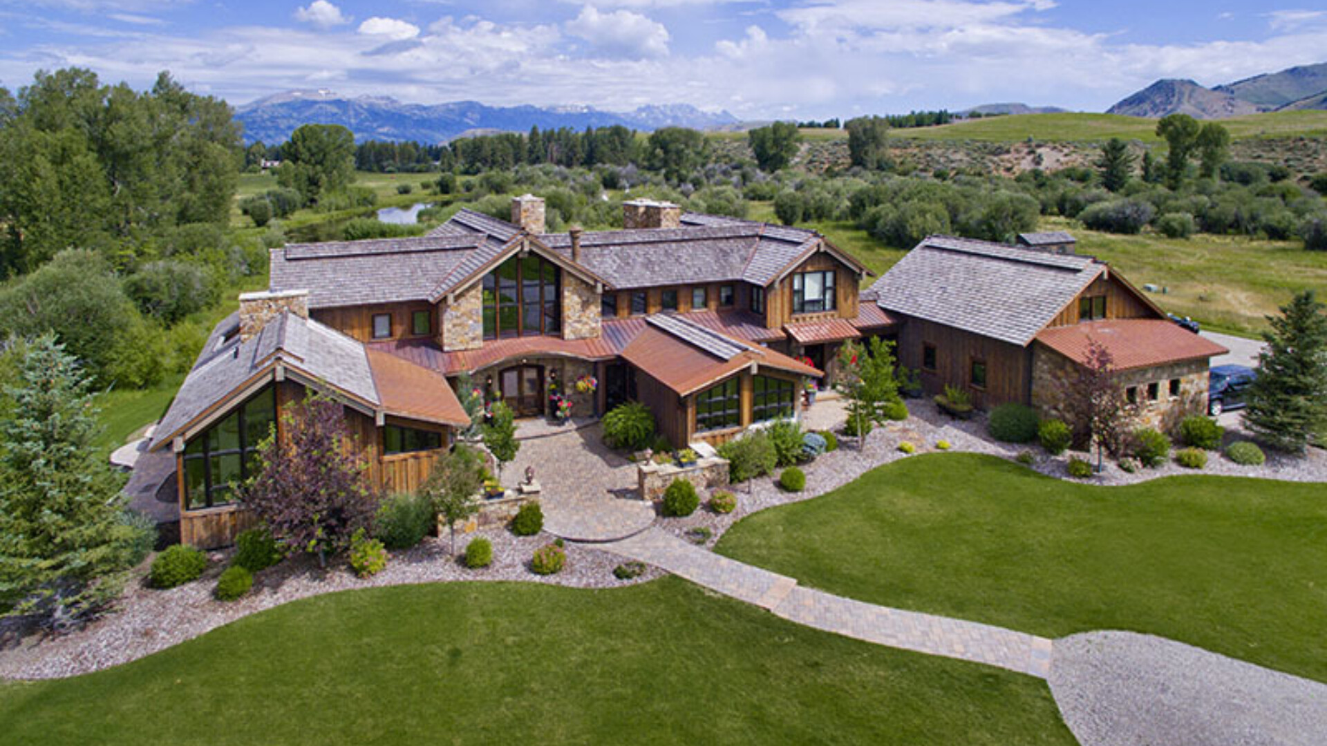 aerial view of the jackson hole wyoming mansion