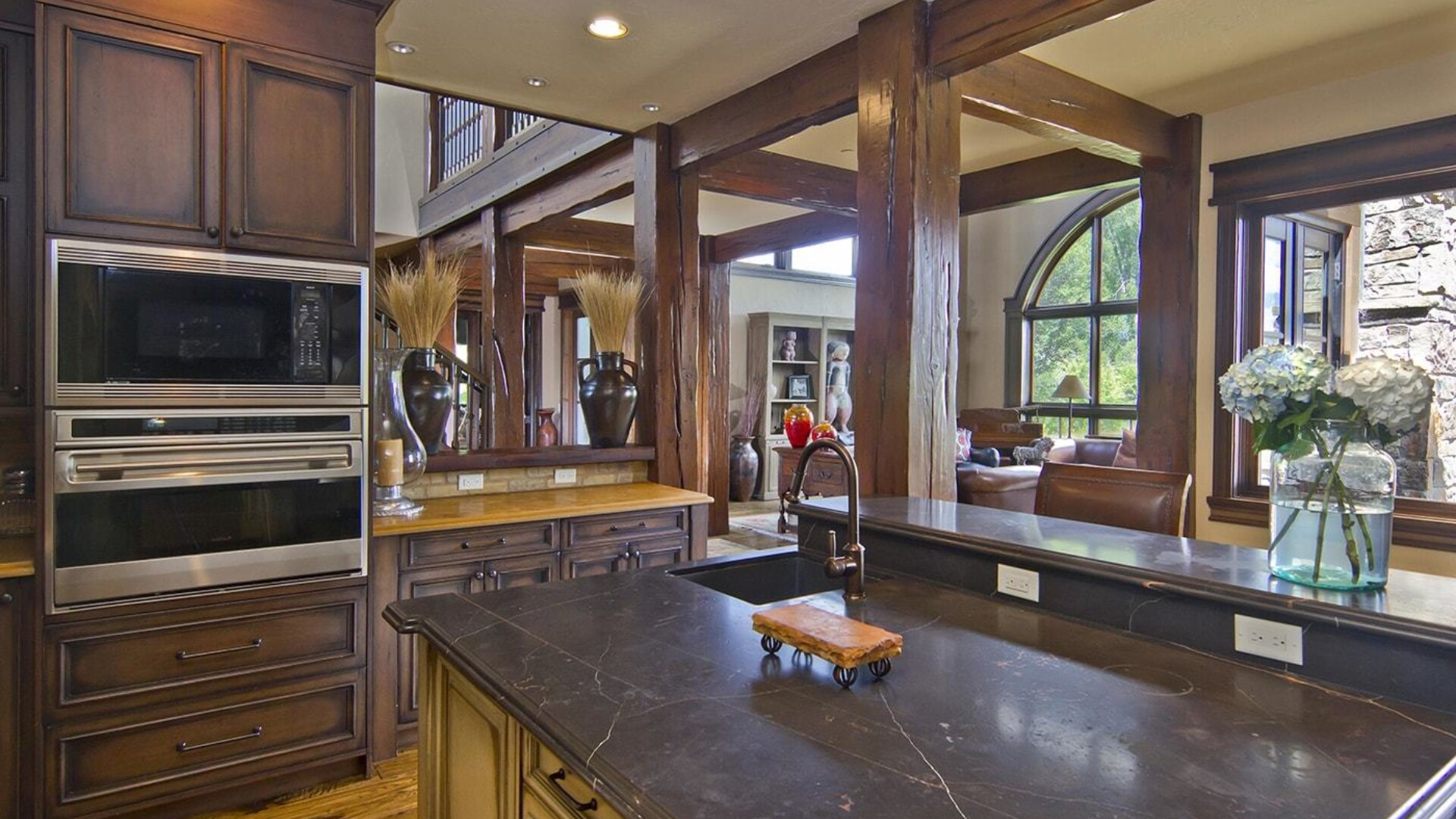 the kitchen of a jackson hole wyoming mansion