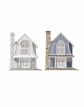 drafting sketch of two houses in front view side by side black and white and color