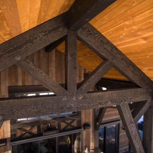 large, heavy wooden ceiling beams