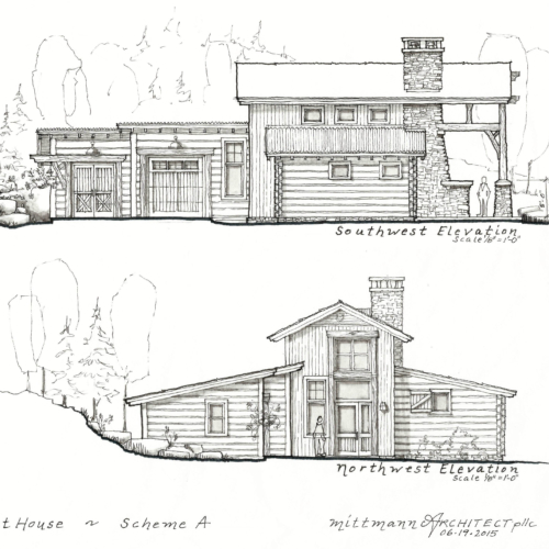 exterior sketches of a house next to a hill