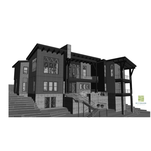 3d model of the front of the riccobene residence